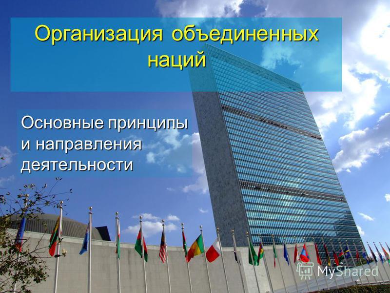 Организация объединенных наций Основные принципы и направления деятельности