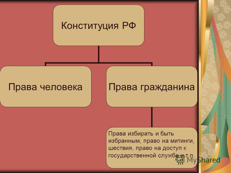 Конституция РФ Права человека Права гражданина Права избирать и быть избранным, право на митинги, шествия, право на доступ к государственной службе и т.п.
