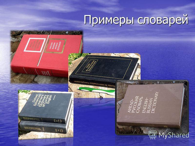 Примеры словарей