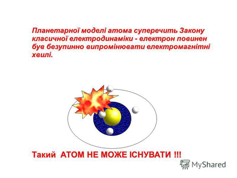 Планетарної моделі атома суперечить Закону класичної електродинаміки - електрон повинен був безупинно випромінювати електромагнітні хвилі. Такий АТОМ НЕ МОЖЕ ІСНУВАТИ !!!