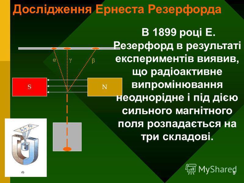 9 SN αγ β В 1899 році Е. Резерфорд в результаті експериментів виявив, що радіоактивне випромінювання неоднорідне і під дією сильного магнітного поля розпадається на три складові. Дослідження Ернеста Резерфорда