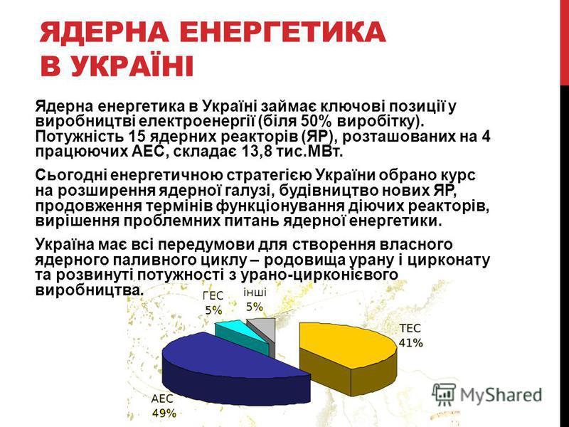 ЯДЕРНА ЕНЕРГЕТИКА В УКРАЇНІ Ядерна енергетика в Україні займає ключові позиції у виробництві електроенергії (біля 50% виробітку). Потужність 15 ядерних реакторів (ЯР), розташованих на 4 працюючих АЕС, складає 13,8 тис.МВт. Сьогодні енергетичною страт