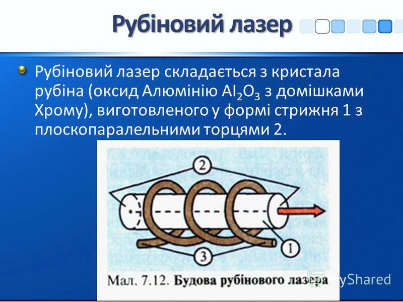 Рубіновий лазер Рубіновий лазер складається з кристала рубіна (оксид Алюмінію АІ 2 О 3 з домішками Хрому), виготовленого у формі стрижня 1 з плоскопаралельними торцями 2.