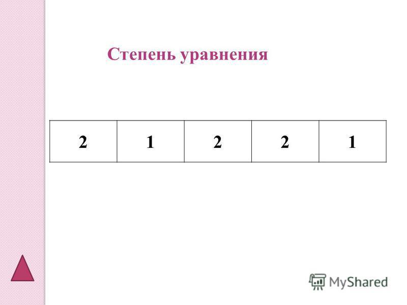 21221 Степень уравнения