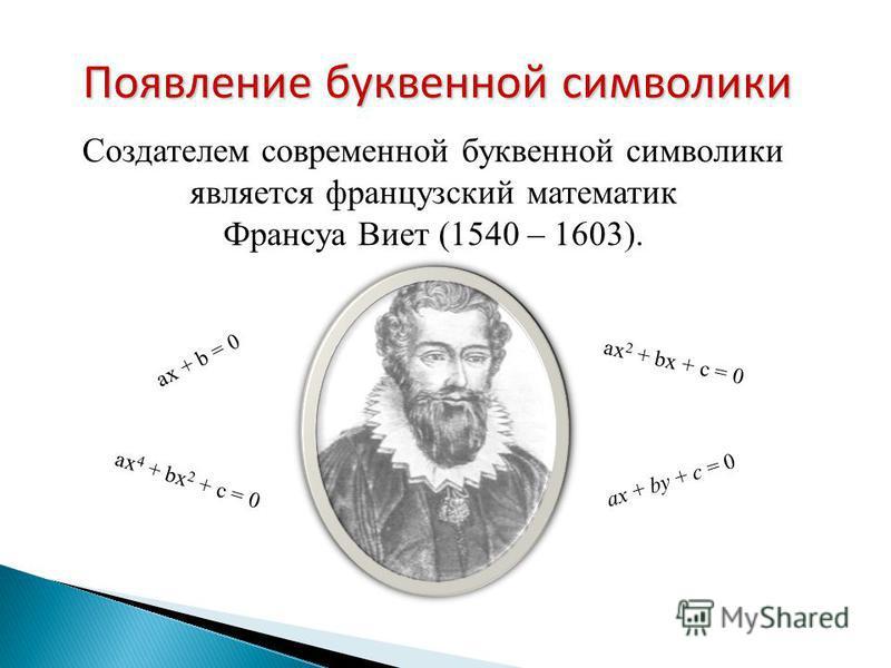 Создателем современной буквенной символики является французский математик Франсуа Виет (1540 – 1603). ax + b = 0 ax 2 + bx + c = 0 ax 4 + bx 2 + c = 0 ax + by + c = 0 Появление буквенной символики