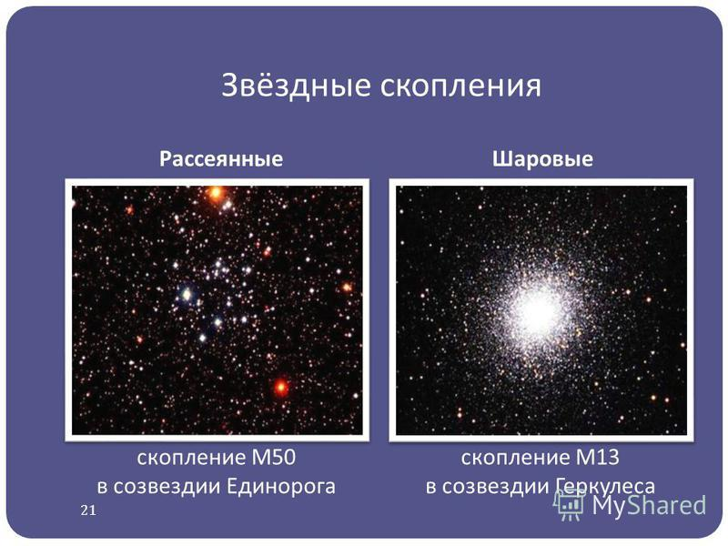 Звёздные скопления Рассеянные Шаровые скопление М50 в созвездии Единорога скопление М13 в созвездии Геркулеса 21