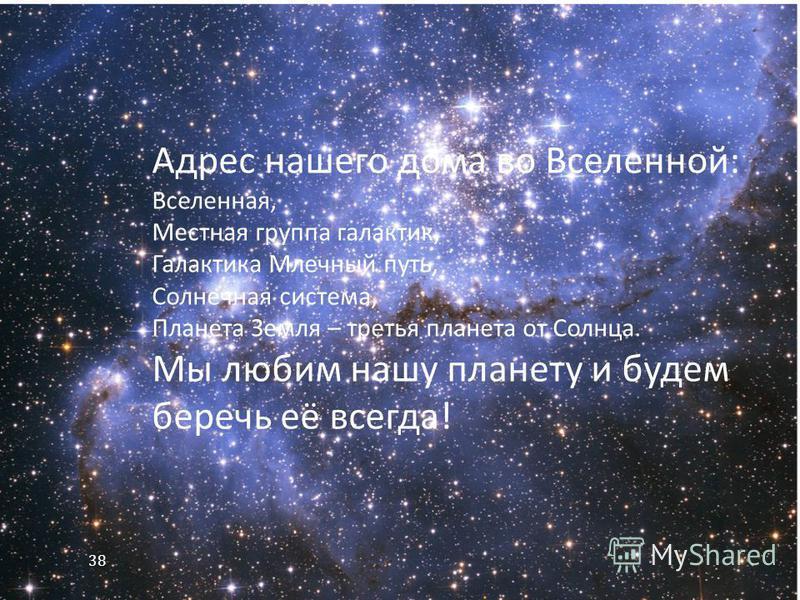 Адрес нашего дома во Вселенной : Вселенная, Местная группа галактик, Галактика Млечный путь, Солнечная система, Планета Земля – третья планета от Солнца. Мы любим нашу планету и будем беречь её всегда ! 38
