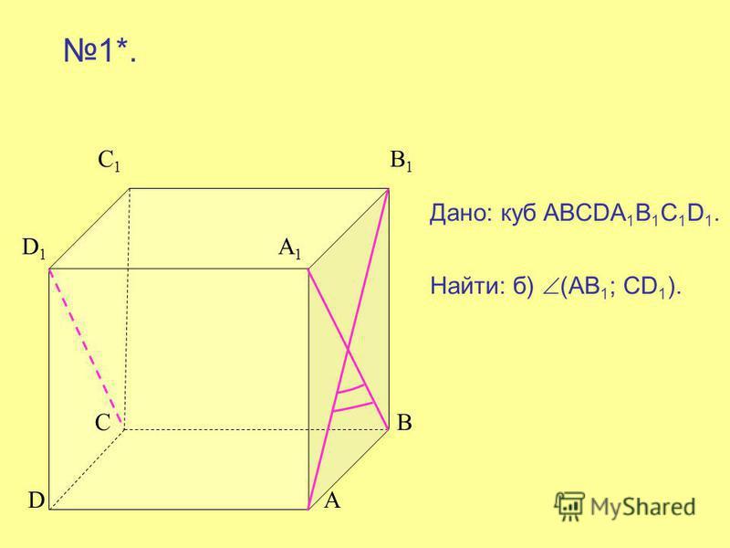 С 1 B 1 D 1 A 1 C B D A 1*. Дано: куб ABCDA 1 B 1 C 1 D 1. Найти: б) (АВ 1 ; СD 1 ).