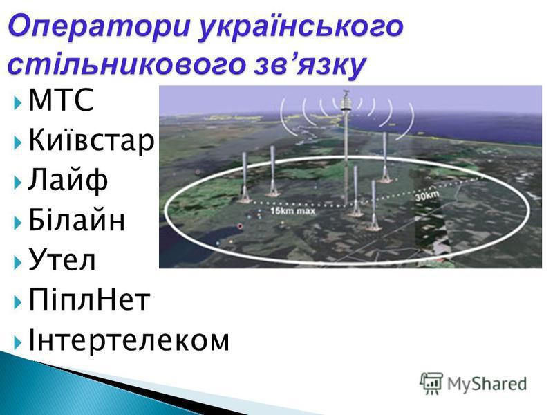 МТС Київстар Лайф Білайн Утел ПіплНет Інтертелеком