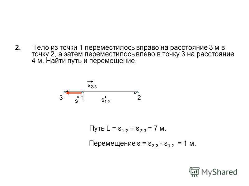2. Тело из точки 1 переместилось вправо на расстояние 3 м в точку 2, а затем переместилось влево в точку 3 на расстояние 4 м. Найти путь и перемещение. Путь L = s 1-2 + s 2-3 = 7 м. Перемещение s = s 2-3 - s 1-2 = 1 м. 123 s s 1-2 s 2-3