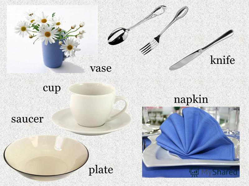 cup plate saucer knife napkin vase