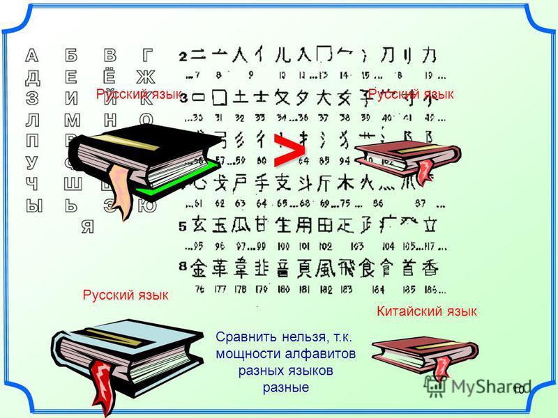 10 > Русский язык Китайский язык Русский язык Сравнить нельзя, т.к. мощности алфавитов разных языков разные