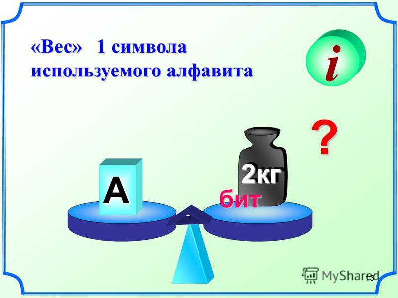 13 «Вес» 1 символа используемого алфавита i А 2 кг 2 кг ? бит