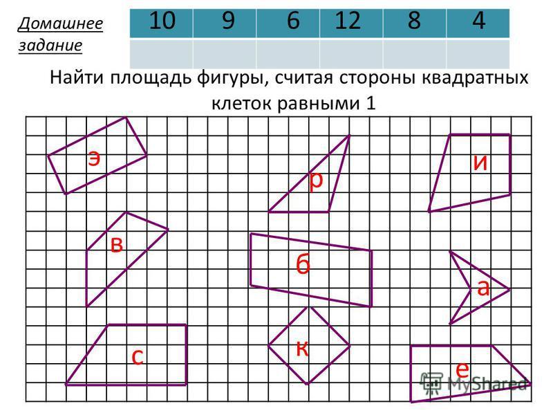 э в с р б и к а е 10961284 Найти площадь фигуры, считая стороны квадратных клеток равными 1 Домашнее задание