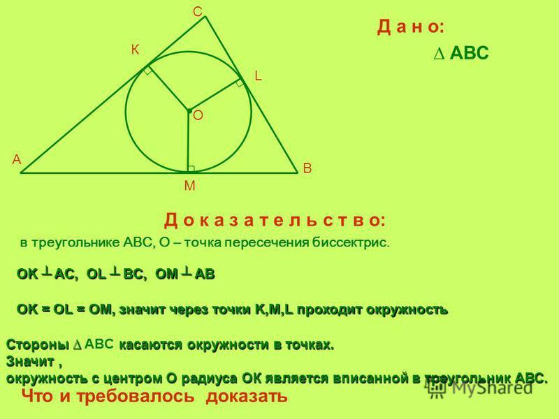 Д а н о: ABC Д о к а з а т е л ь с т в о: в треугольнике ABC, О – точка пересечения биссектрис. OK AС, OL BC, OM AB Стороны касаются окружности в точках. Стороны ABC касаются окружности в точках. Значит, окружность с центром О радиуса ОК является впи