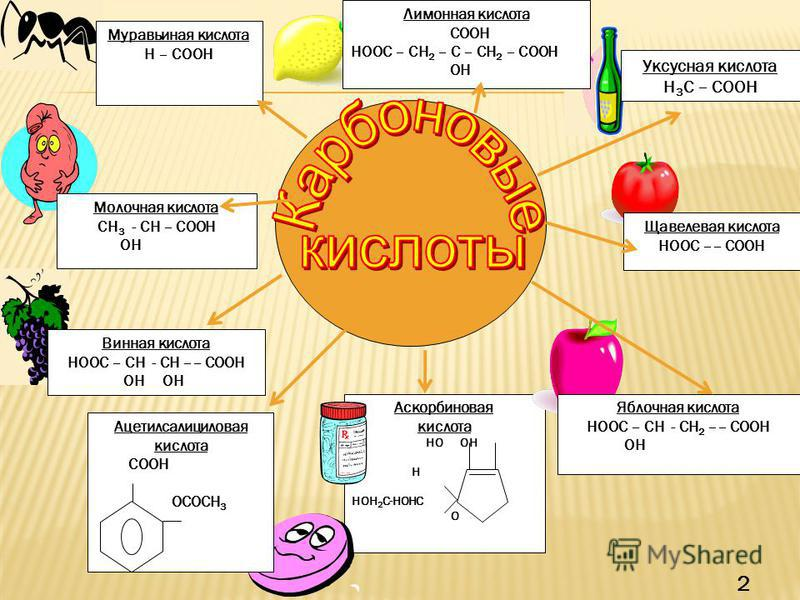 Уксусная кислота H 3 C – COOH Лимонная кислота COOH HOOC – CH 2 – C – CH 2 – COOH OH Муравьиная кислота Н – COOH Винная кислота HOOC – СН - СН –– COOH ОН ОН Молочная кислота СН 3 - СН – COOH ОН Аскорбиновая кислота НО ОН Н =О НОН 2 С-НОНС О Ацетилсал