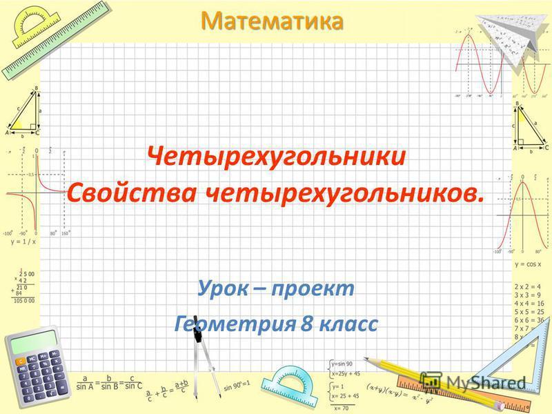 Математика Четырехугольники Свойства четырехугольников. Урок – проект Геометрия 8 класс