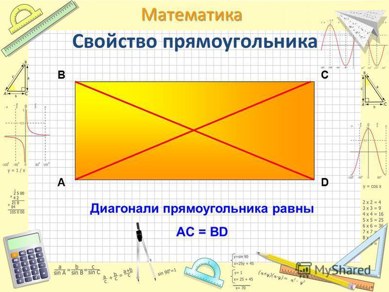 Математика Диагонали прямоугольника равны AC = BD АD CB Свойство прямоугольника