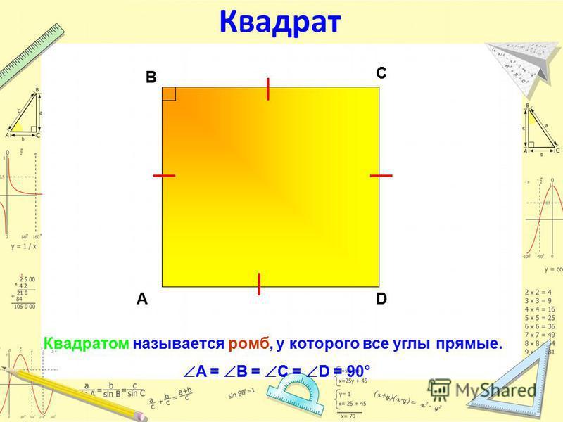 Квадрат Квадратом называется ромб, у которого все углы прямые. A = B = C = D = 90° АD С В
