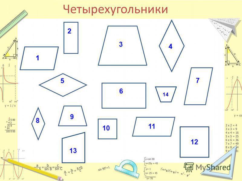 Четырехугольники 1 2 3 4 6 5 7 8 9 1011 12 13 14 1 2 4