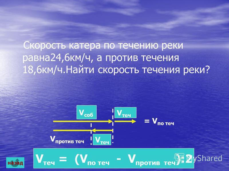 Скорость катера по течению реки равна 24,6 км/ч, а против течения 18,6 км/ч.Найти скорость течения реки? V теч V саб = V по теч V против теч V теч = (V по теч - V против теч ):2 назад