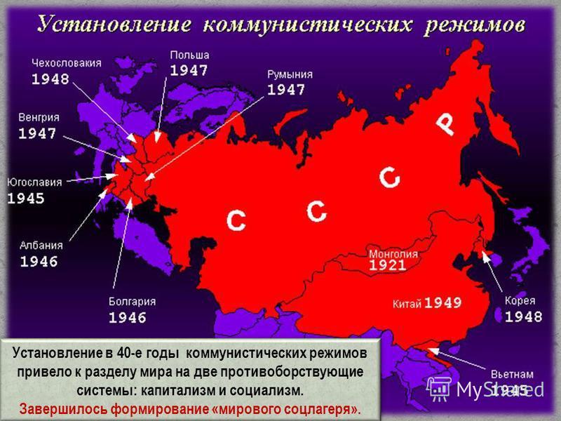 Установление в 40-е годы коммунистических режимов привело к разделу мира на две противоборствующие системы: капитализм и социализм. Завершилось формирование «мирового соцлагеря». Установление в 40-е годы коммунистических режимов привело к разделу мир
