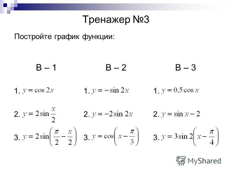 Тренажер 3 Постройте график функции: В – 1В – 2В – 3 1. 2. 3.