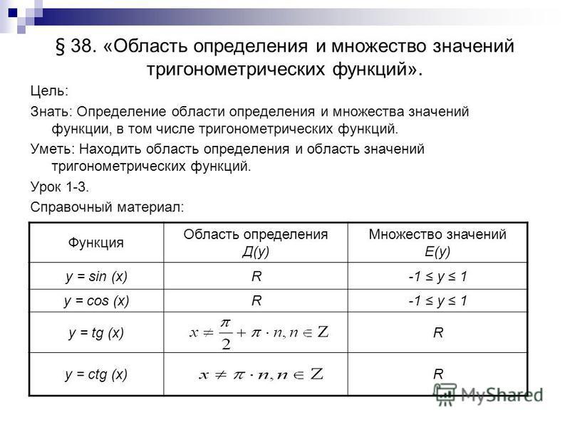 § 38. «Область определения и множество значений тригонометрических функций». Цель: Знать: Определение области определения и множества значений функции, в том числе тригонометрических функций. Уметь: Находить область определения и область значений три