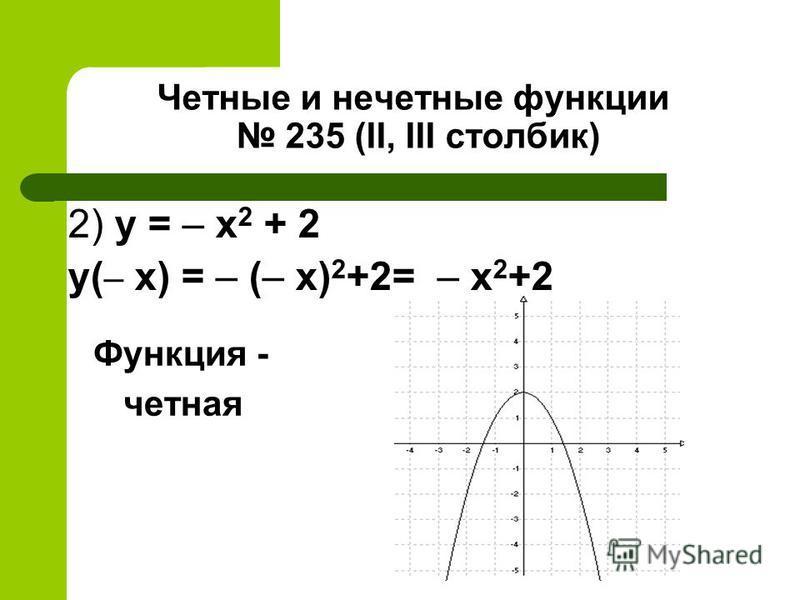 Четные и нечетные функции 235 (II, III столбик) 2) y = – x 2 + 2 y( – x) = – (– x) 2 +2= – х 2 +2 Функция - четная
