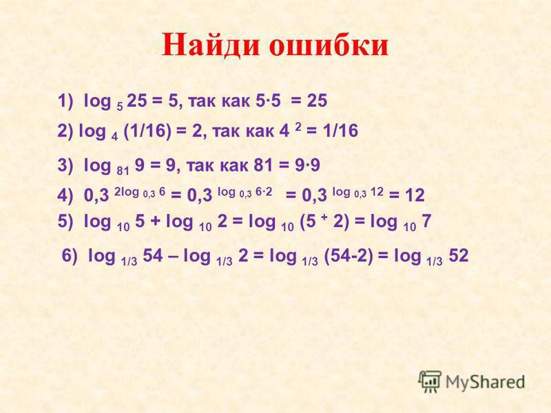 1) log 5 25 = 5, так как 55 = 25 Найди ошибки 2) log 4 (1/16) = 2, так как 4 2 = 1/16 3) log 81 9 = 9, так как 81 = 99 4) 0,3 2log 0,3 6 = 0,3 log 0,3 62 = 0,3 log 0,3 12 = 12 5) log 10 5 + log 10 2 = log 10 (5 + 2) = log 10 7 6) log 1/3 54 – log 1/3