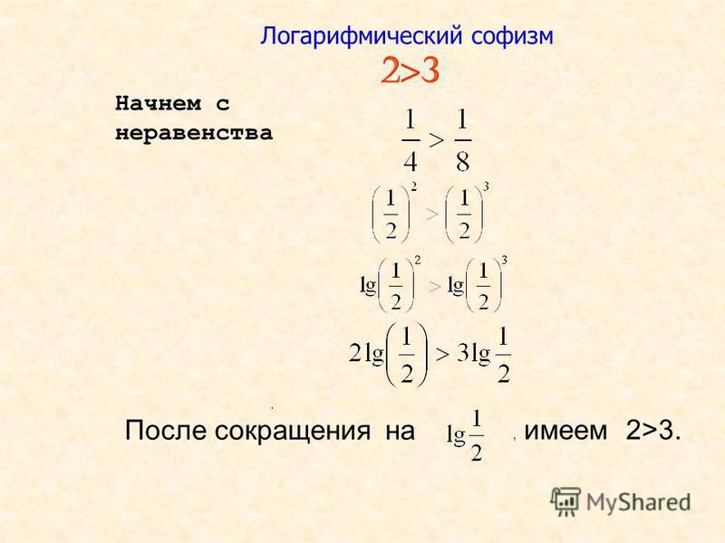 Логарифмический софизм 2>3 Начнем с неравенства. После сокращения на, имеем 2>3.