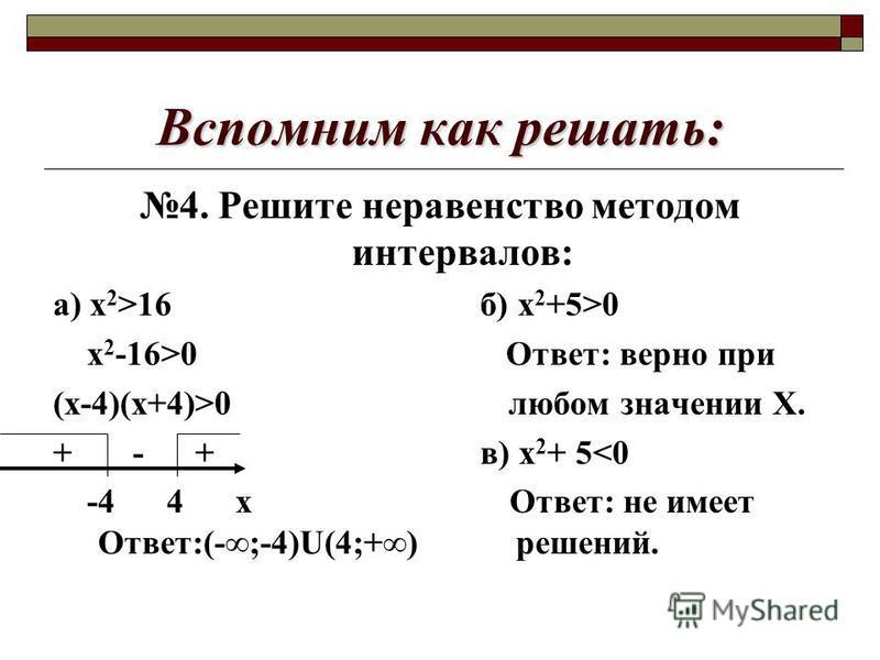 Вспомним как решать: 4. Решите неравенство методом интервалов: а) х 2 >16 б) х 2 +5>0 х 2 -16>0 Ответ: верно при (х-4)(х+4)>0 любом значении Х. + - + в) х 2 + 5<0 -4 4 х Ответ: не имеет Ответ:(-;-4)U(4;+) решений.
