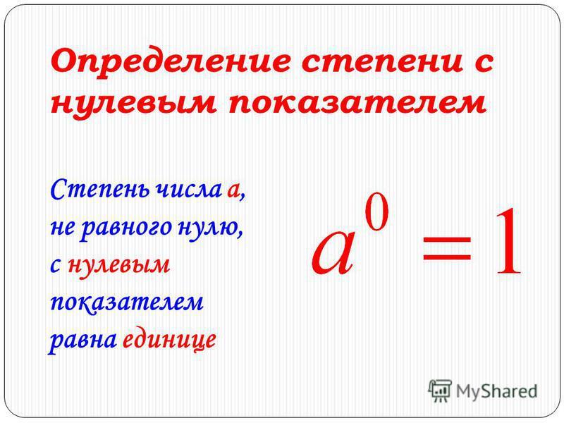 Определение степени с нулевым показателем Степень числа a, не равного нулю, с нулевым показателем равна единице