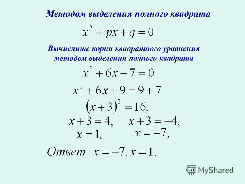 Методом выделения полного квадрата Вычислите корни квадратного уравнения методом выделения полного квадрата