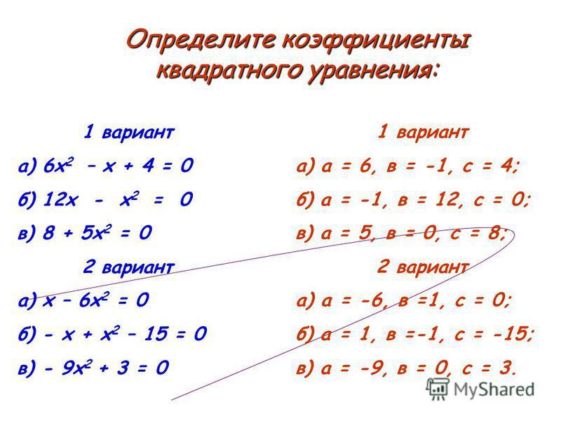 1 вариант а) 6 х 2 – х + 4 = 0 б) 12 х - х 2 = 0 в) 8 + 5 х 2 = 0 2 вариант а) х – 6 х 2 = 0 б) - х + х 2 – 15 = 0 в) - 9 х 2 + 3 = 0 1 вариант а) а = 6, в = -1, с = 4; б) а = -1, в = 12, с = 0; в) а = 5, в = 0, с = 8; 2 вариант а) а = -6, в =1, с =