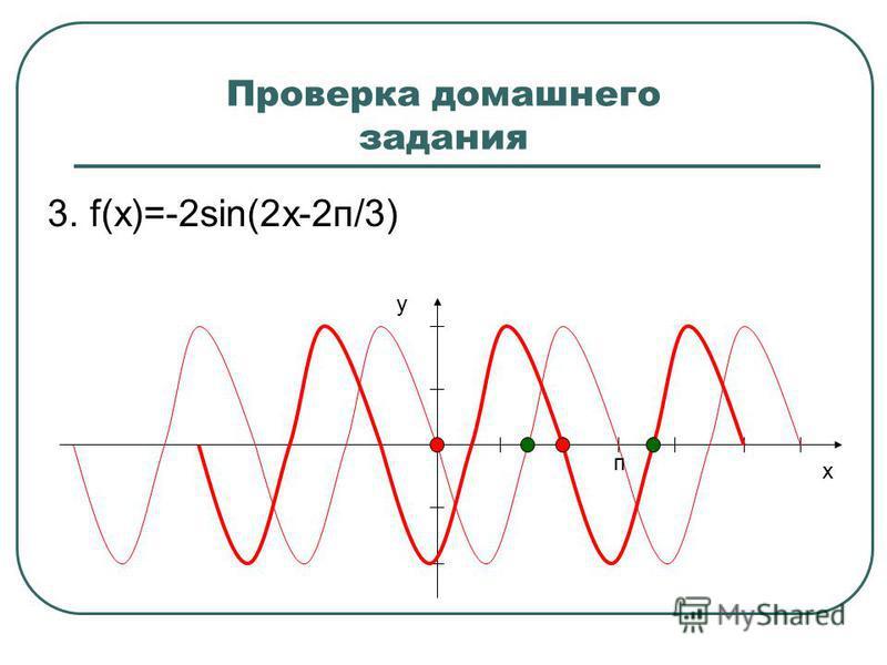 Проверка домашнего задания 3. f(x)=-2sin(2x-2 п/3) y x п