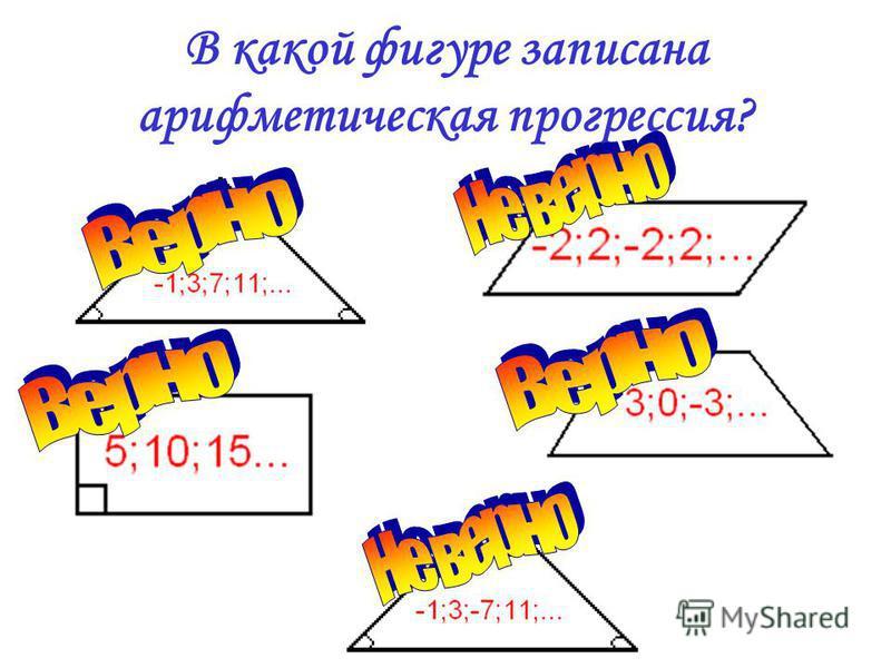 В какой фигуре записана арифметическая прогрессия?