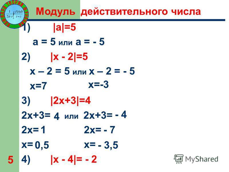 5 1) |а|=5 а = 5 или а = - 5 2) |х - 2|=5 х – 2 = 5 или х – 2 = - 5 х=7 3) |2 х+3|=4 2 х+3= или 2 х+3= 2 х= х= 4) |х - 4|= - 2 х=-3 4 - 4 1- 7 0,5- 3,5 Модуль действительного числа