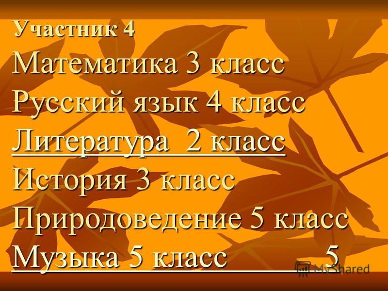 Участник 4 Математика 3 класс Русский язык 4 класс Литература 2 класс Литература 2 класс Литература 2 класс История 3 класс Природоведение 5 класс Музыка 5 класс 5 Музыка 5 класс 5 Музыка 5 класс 5