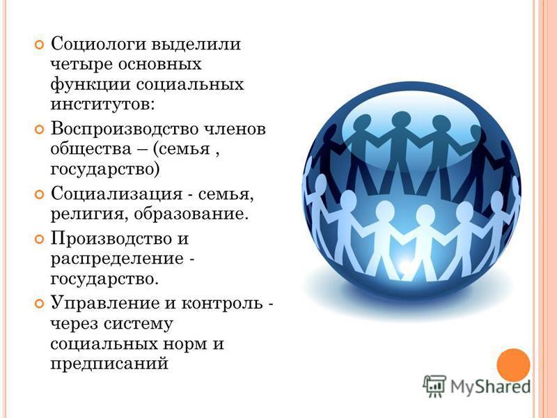 Социологи выделили четыре основных функции социальных институтов: Воспроизводство членов общества – (семья, государство) Социализация - семья, религия, образование. Производство и распределение - государство. Управление и контроль - через систему соц