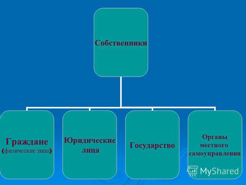 Собственники Граждане ( физические лица ) Юридические лица Государство Органы местного самоуправления
