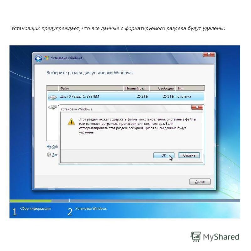 Установщик предупреждает, что все данные с форматируемого раздела будут удалены: