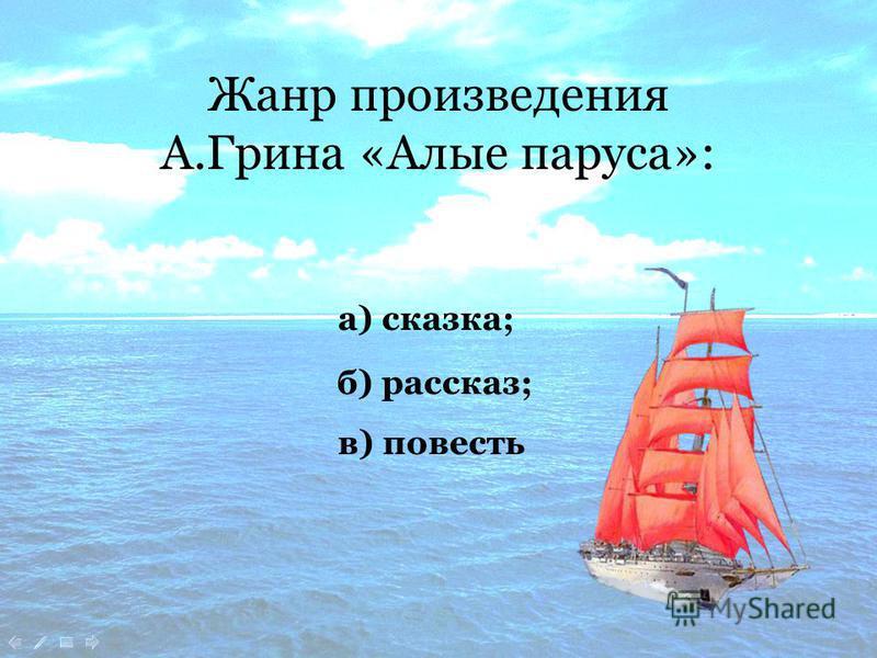 Жанр произведения А.Грина «Алые паруса»: а) сказка; в) повесть б) рассказ;