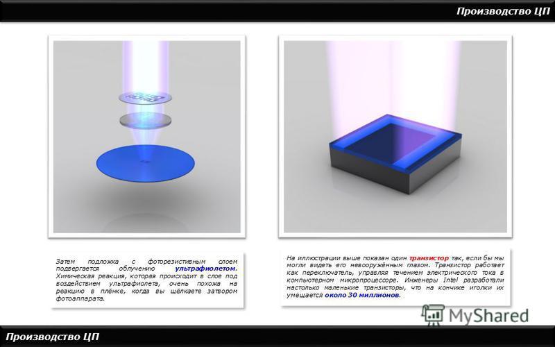 Производство ЦП Затем подложка с фоторезистивным слоем подвергается облучению ультрафиолетом. Химическая реакция, которая происходит в слое под воздействием ультрафиолета, очень похожа на реакцию в плёнке, когда вы щёлкаете затвором фотоаппарата. На