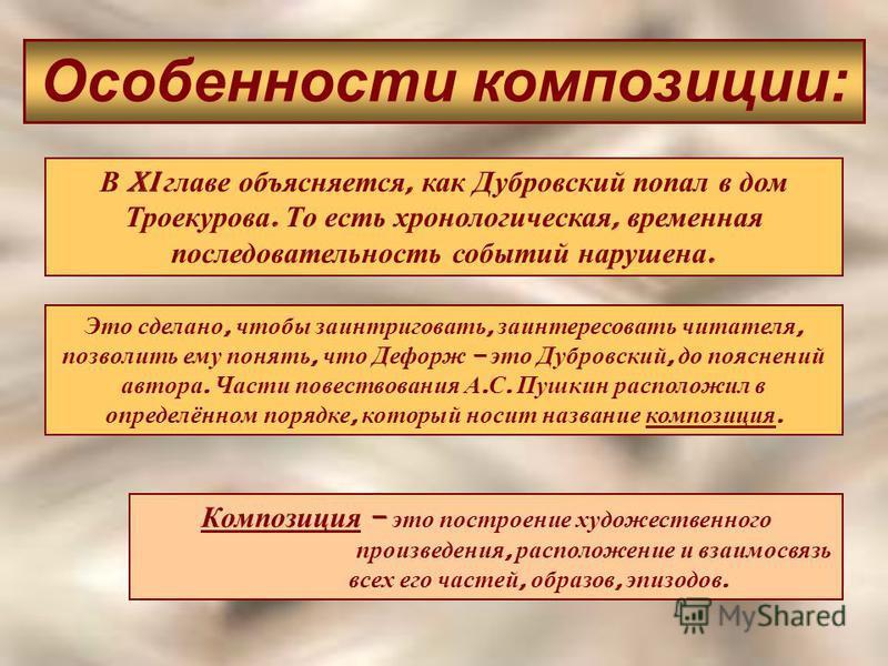 Особенности композиции: В XI главе объясняется, как Дубровский попал в дом Троекурова. То есть хронологическая, временная последовательность событий нарушена. Композиция – это построение художественного произведения, расположение и взаимосвязь всех е