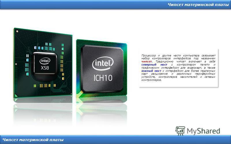 Чипсет материнской платы Процессор и другие части компьютера связывает набор контроллеров интерфейсов под названием чипсет. Традиционно чипсет включает в себя северный мост с контроллером памяти и графическим интерфейсом для видеокарт, а также южный