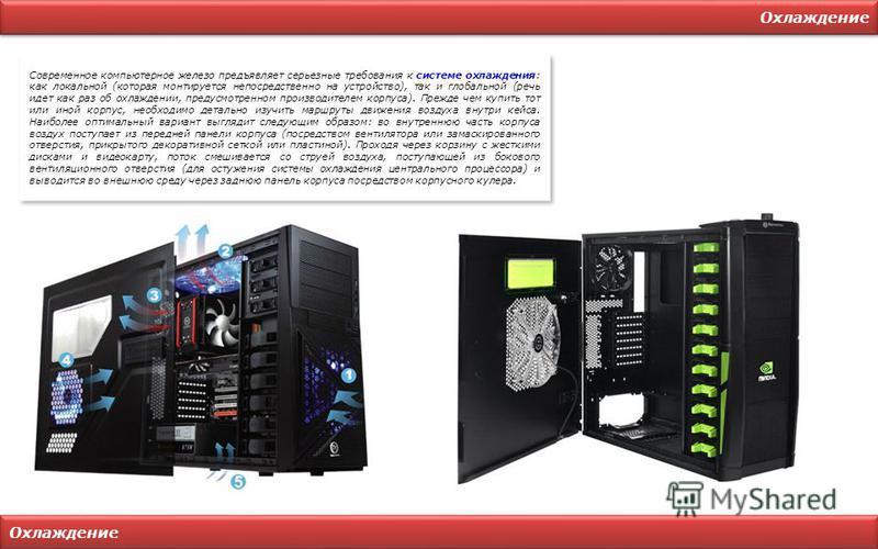 Охлаждение Современное компьютерное железо предъявляет серьезные требования к системе охлаждения: как локальной (которая монтируется непосредственно на устройство), так и глобальной (речь идет как раз об охлаждении, предусмотренном производителем кор