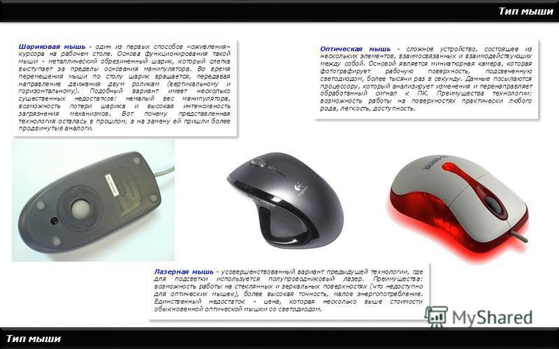 Тип мыши Шариковая мышь - один из первых способов «оживления» курсора на рабочем столе. Основа функционирования такой мыши - металлический обрезиненный шарик, который слегка выступает за пределы основания манипулятора. Во время перемещения мыши по ст