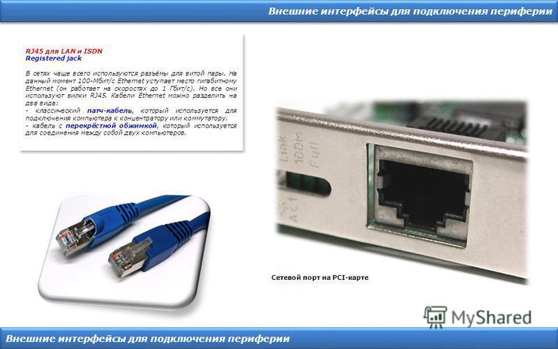 Внешние интерфейсы для подключения периферии Сетевой порт на PCI-карте RJ45 для LAN и ISDN Registered jack В сетях чаще всего используются разъёмы для витой пары. На данный момент 100-Мбит/с Ethernet уступает место гигабитному Ethernet (он работает н
