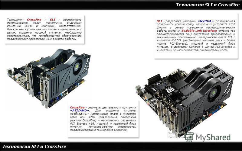 Технологии SLI и CrossFire Технологии CrossFire и SLI - возможность использования сразу нескольких видеокарт компаний «АТ1» и «NVIDIA», соответственно. Прежде чем купить два или более видеоадаптера с целью создания мощной системы, необходимо удостове